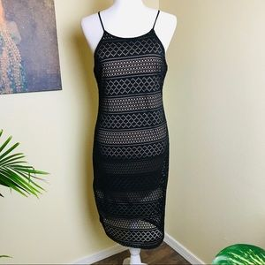 Poetry fully lined black lace halter dress